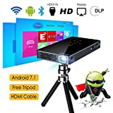 Proyector Android 7.1, 8GB DLP Proyector ExquizOn P8I, Video 1080P Full HD Mini Proyector Portátil...